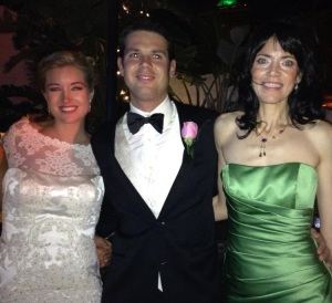 The bride and groom with the author.