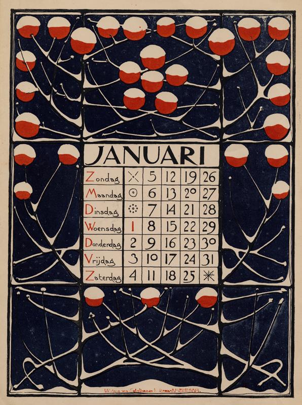 Theodoor Willem Nieuwenhuis. Hoja del mes de Enero del calendario diseñado para 1896.