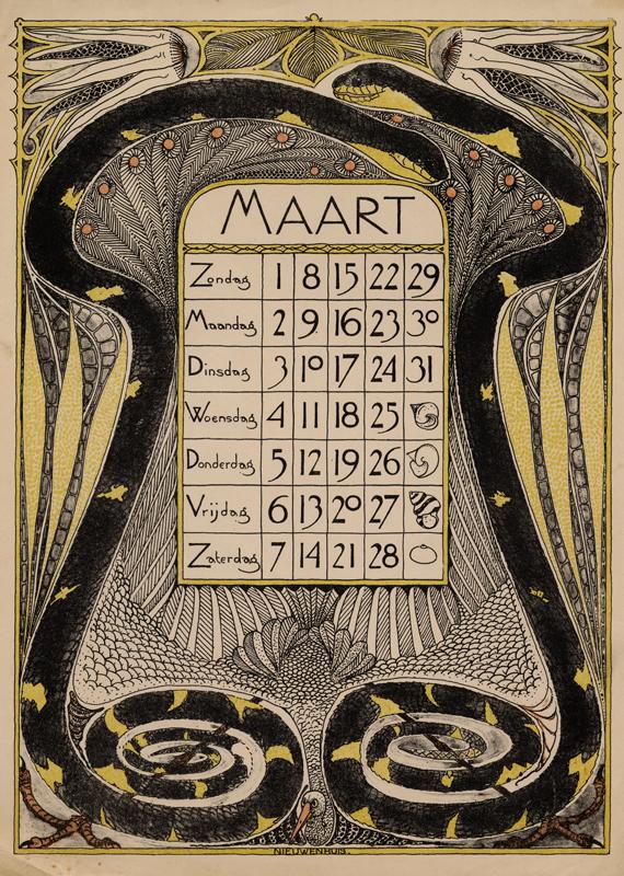 Theodoor Willem Nieuwenhuis. Hoja del mes de Marzo del calendario diseñado para 1896.
