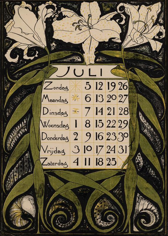 Theodoor Willem Nieuwenhuis. Hoja del mes de Julio del calendario diseñado para 1896.