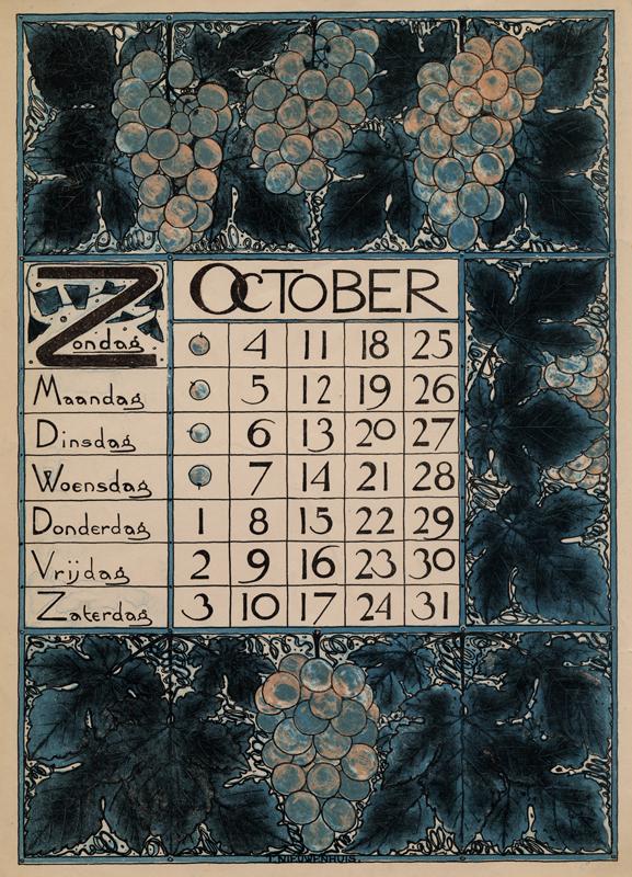 Theodoor Willem Nieuwenhuis. Hoja del mes de Octubre del calendario diseñado para 1896.
