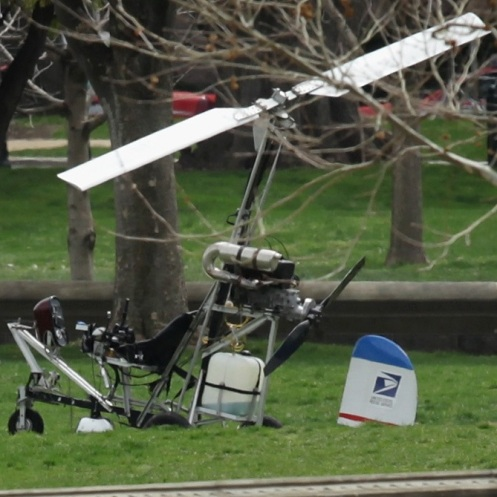 Hughes' gyrocopter sits on the west lawn of the Capitol after he was taken into custody on April 15.